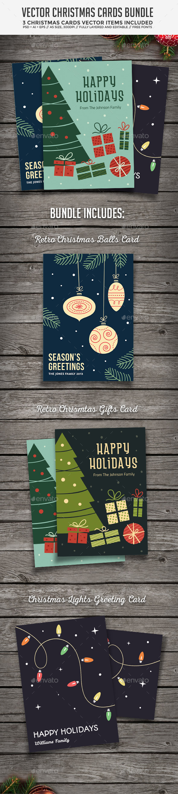 GraphicRiver Christmas Cards Bundle 9546811
