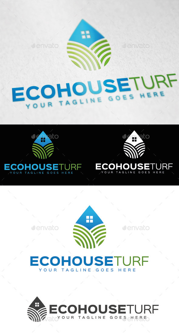 GraphicRiver Eco House Turf Logo Template 9547787
