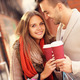 Joyful couple with coffee shopping in the mall - PhotoDune Item for Sale