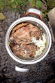 Silver pot full of grilled pork meat barbecue with onion  - PhotoDune Item for Sale
