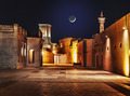 Night view of the streets of the old Arab city Dubai UAE - PhotoDune Item for Sale