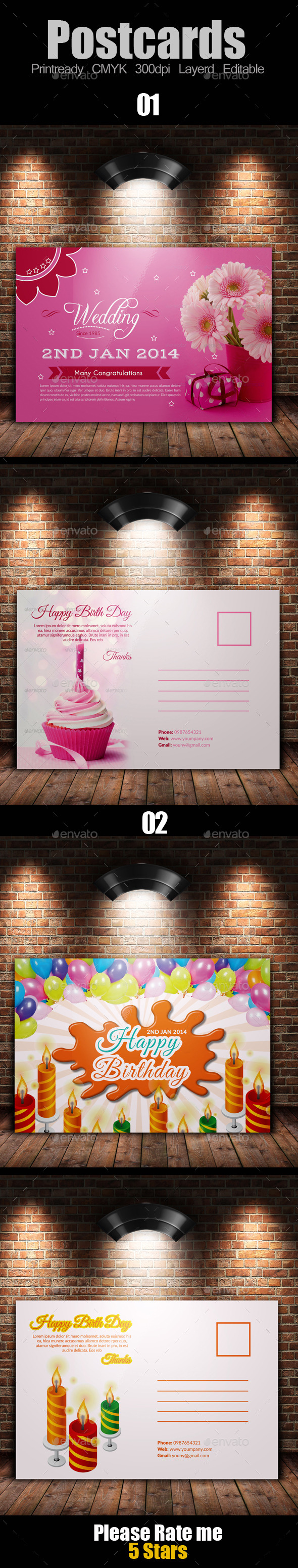 Birth Day Invitation Postcard Bundle