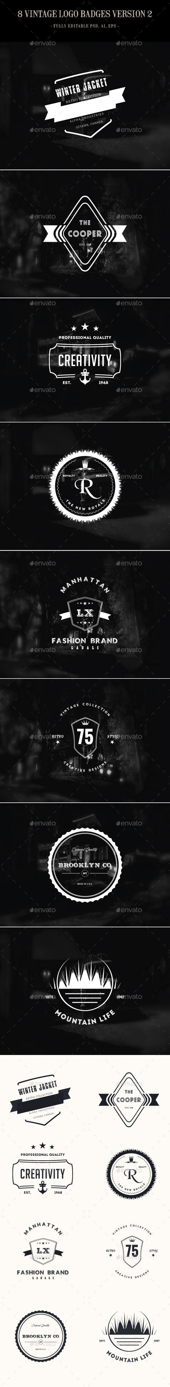 GraphicRiver 8 Vintage Logo Badges Version 2 9383995