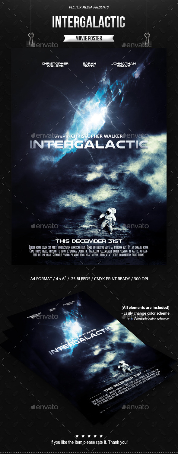 GraphicRiver Intergalactic Movie Poster 9550219