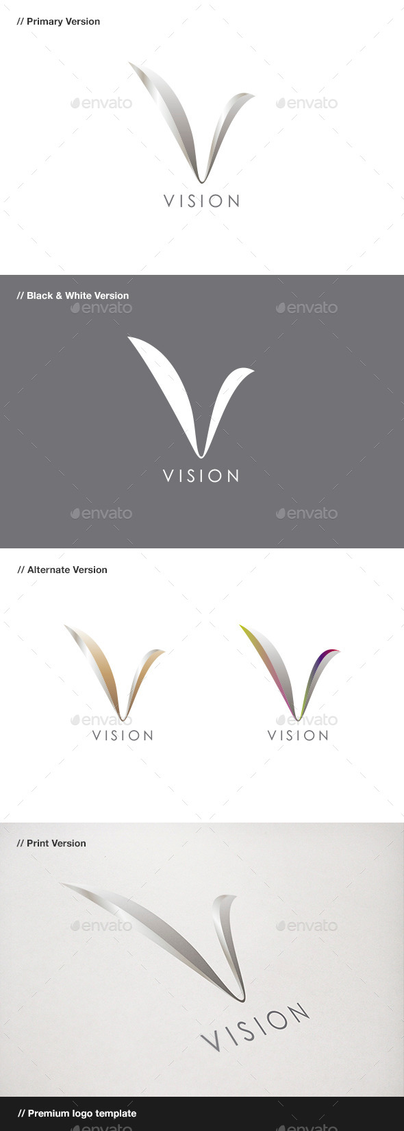Vision Abstract & Letter V Logo