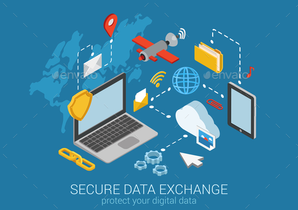 GraphicRiver Secure Data Exchange Concept 9550752