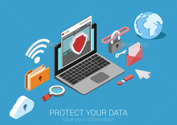 GraphicRiver Data Protection Concept 9550756