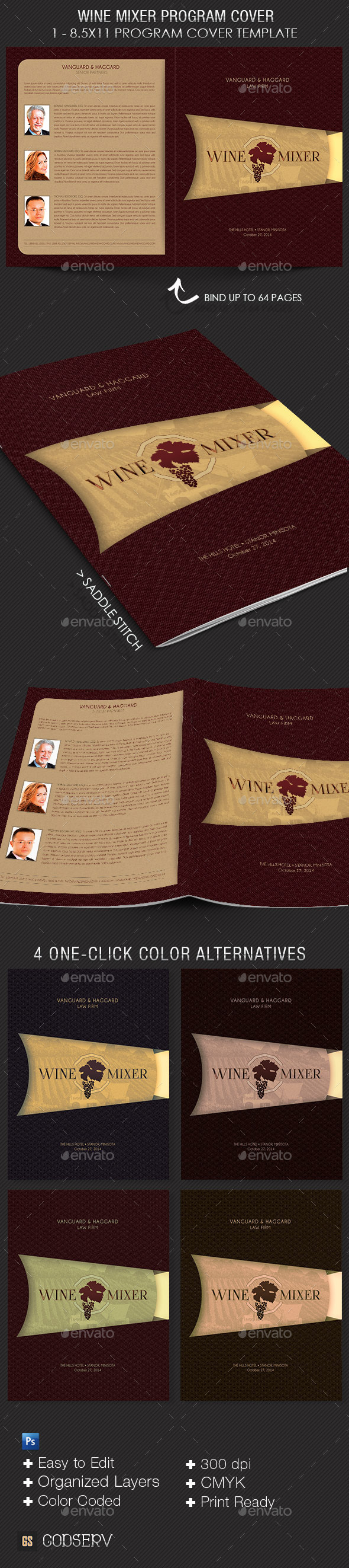 Wine and Chocolate Mixer Program Cover Template - Informational Brochures