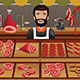 Meat Seller in a Farmer Market - GraphicRiver Item for Sale