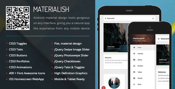 ThemeForest Materialish Mobile & Tablet Responsive Template 9551089