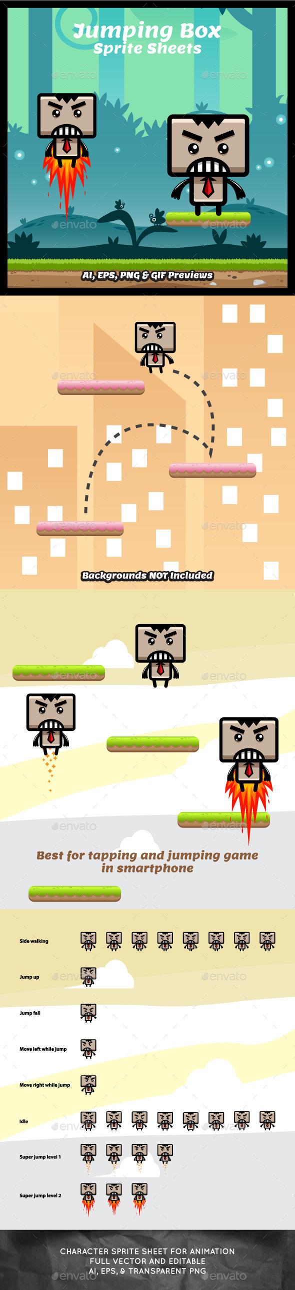 Jumping Box Game Character Sprite Sheets