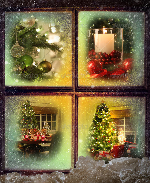 Vignettes of Christmas scenes seen through a wooden window - Stock Photo - Images
