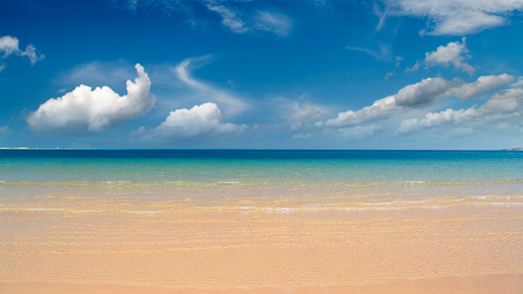 Gold Sand Beach And Clouds