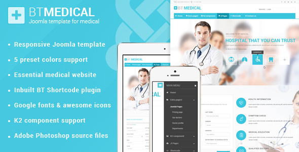 ThemeForest BT Medical Responsive medical joomla template 9503042