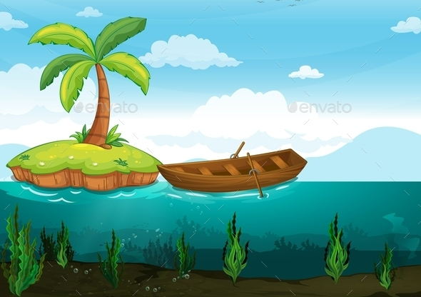 GraphicRiver Plam Tree and Rowboat 9552297