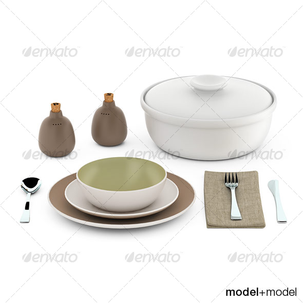Heath ceramics dinnerware and flatware - 3DOcean Item for Sale
