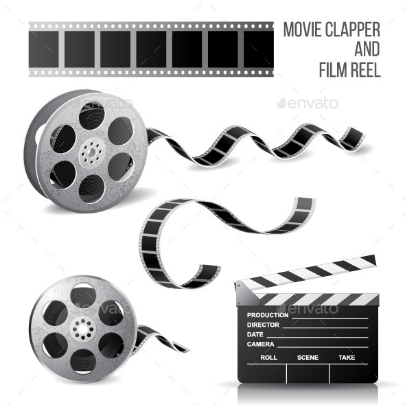 GraphicRiver Movie Clapper and Film Reel 8056867