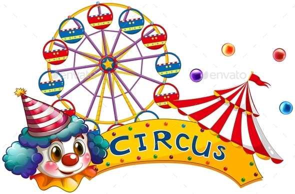 GraphicRiver Circus Signboard with a Clown and a Tent 9552798