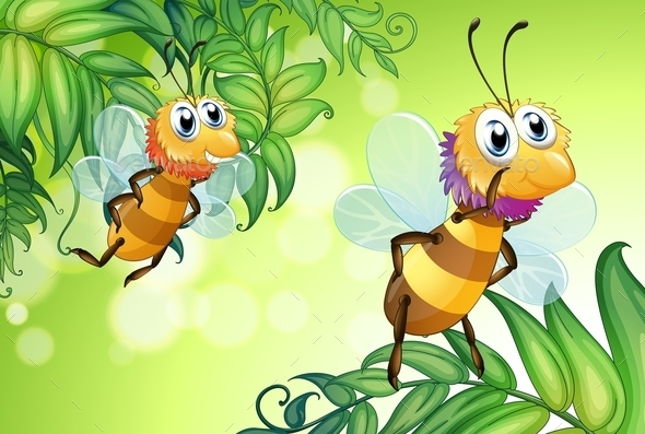 GraphicRiver Two Bees Flying with Many Leaves 9552966