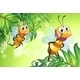 Two Bees Flying with Many Leaves - GraphicRiver Item for Sale