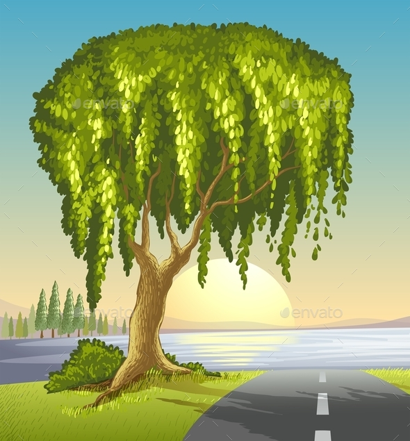 GraphicRiver A Big Tree at the Road 9553001