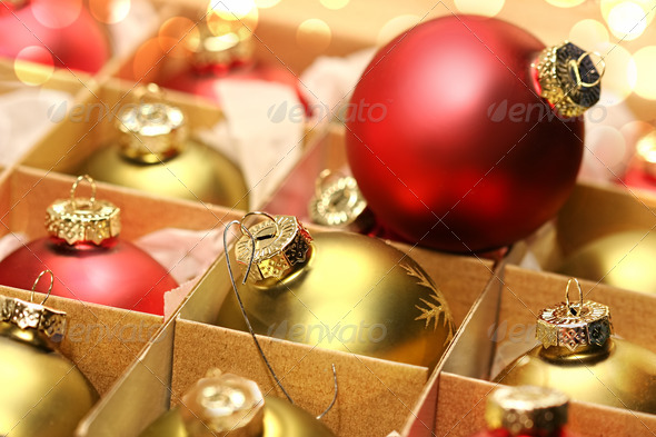 Collection of Christmas balls in box - Stock Photo - Images