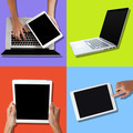 Hands touching tablet and laptop - PhotoDune Item for Sale