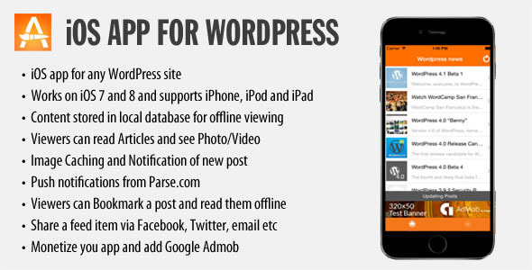 CodeCanyon iOS App for WordPress 9553535