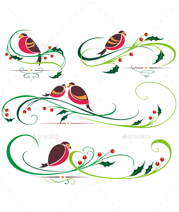 GraphicRiver Bullfinch and Christmas Ornaments 9553994