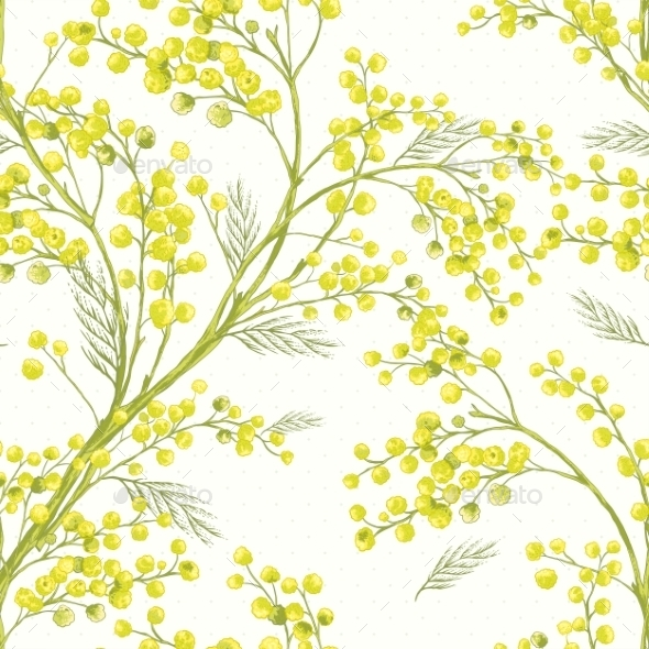 GraphicRiver Seamless Spring Pattern with Sprig of Mimosa 9554669