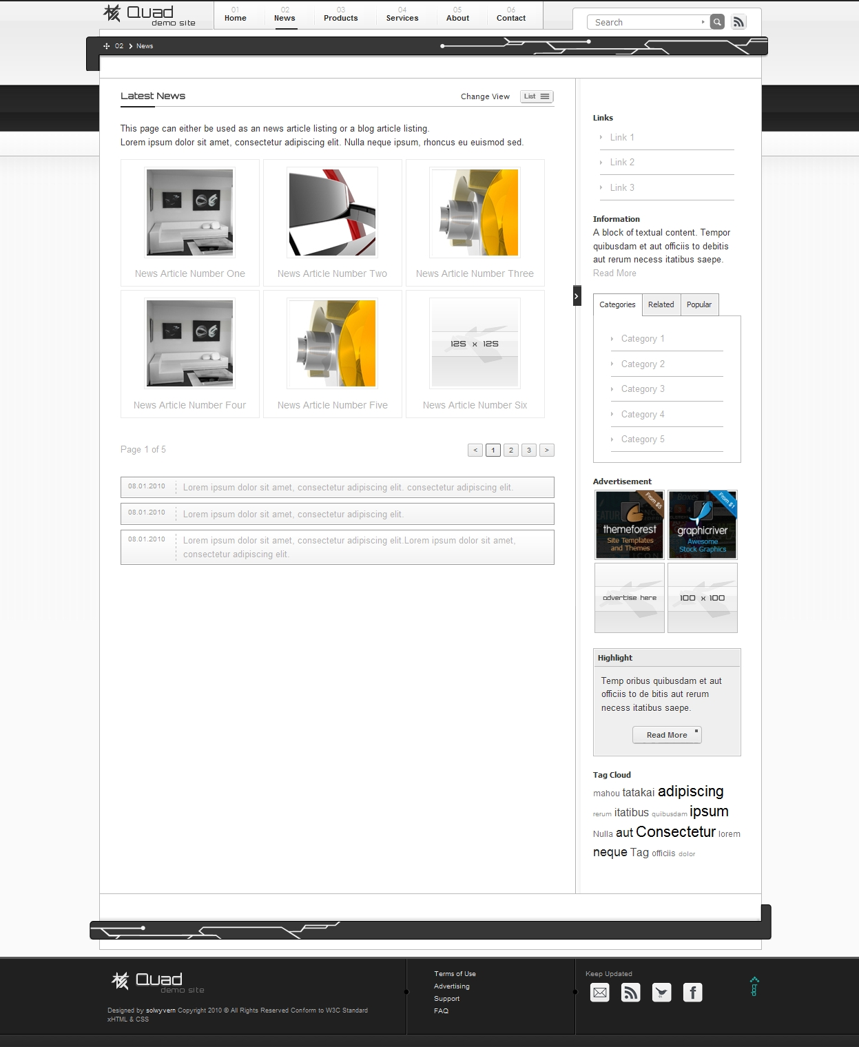 Quad xHTML Template NewsBlog and Product Catalogue - News Page - Grid View