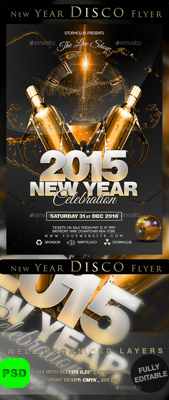 GraphicRiver New Year Disco Flyer 9554992