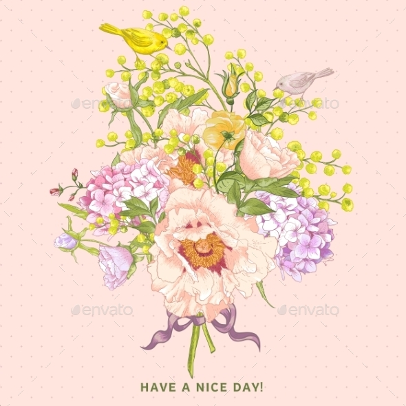 GraphicRiver Spring Floral Bouquet with Birds Greeting Card 9555047