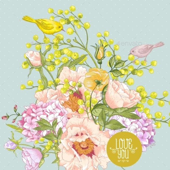 GraphicRiver Spring Floral Bouquet with Birds Greeting Card 9555069
