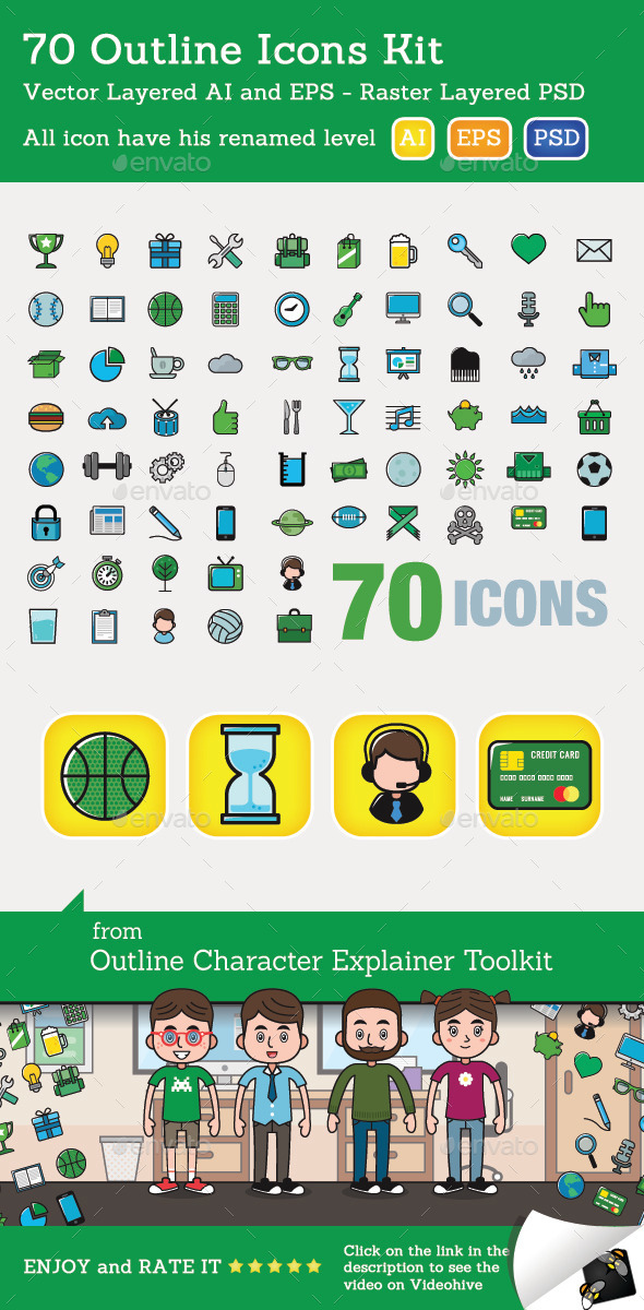 GraphicRiver 70 Outline Icons Kit 9555103