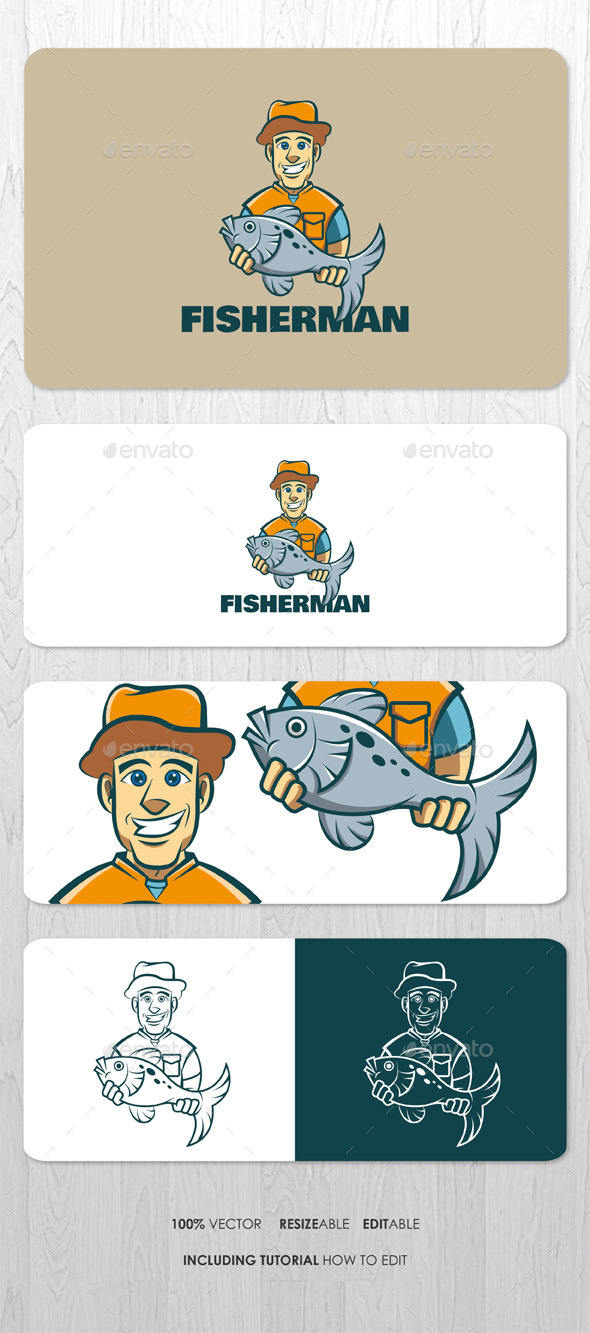 GraphicRiver Fisherman Mascot Logo 9555811
