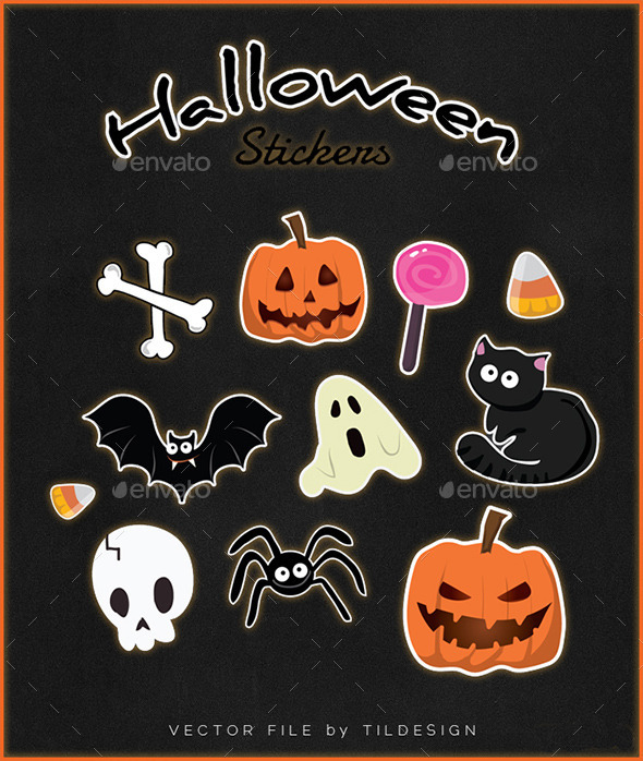 GraphicRiver Halloween Stickers 9352733
