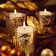 Closeup of candles lit with a sparkling gold theme - PhotoDune Item for Sale