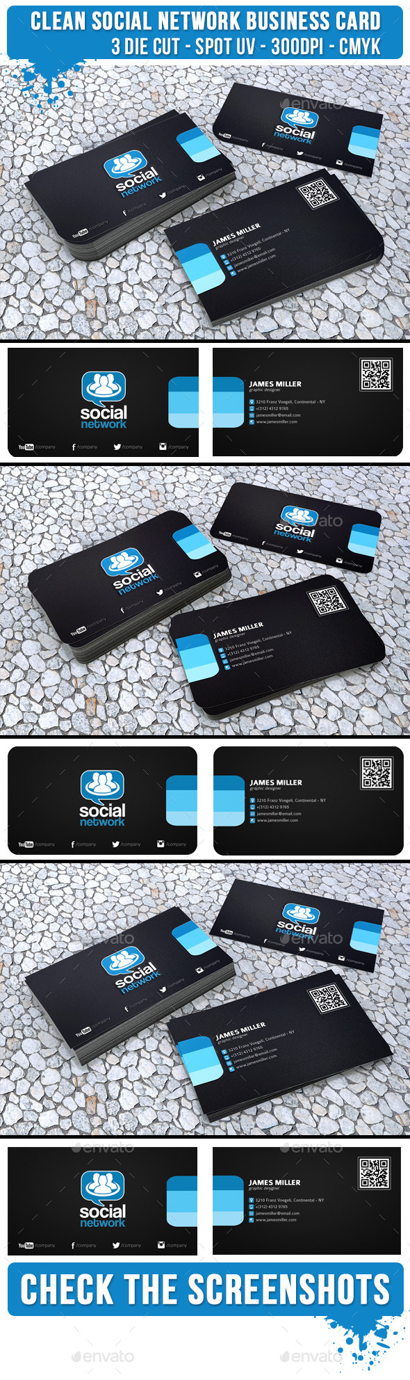GraphicRiver Clean Black Social Network 3 Die cut Spot UV 9556575