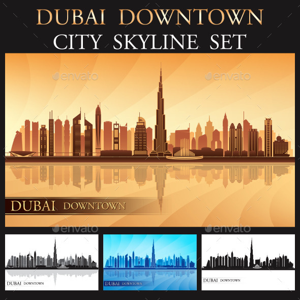 GraphicRiver Dubai Downtown Skyline Silhouettes Set 9556684