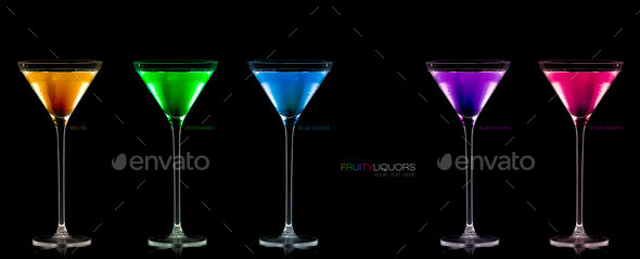 Five Stemmed Cocktail Glasses Full of Colored Liquors. Template