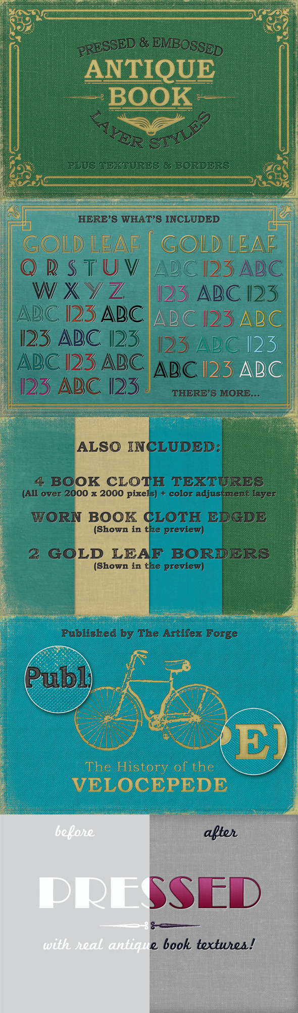 GraphicRiver Pressed Antique Book Styles& Backgrounds & Borders 9556920