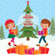 Children Give Christmas Gifts - GraphicRiver Item for Sale