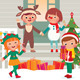 Children on the Doorstep in Christmas Costumes - GraphicRiver Item for Sale