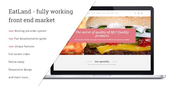 EatLand - eCommerce and Delivery Landing Page