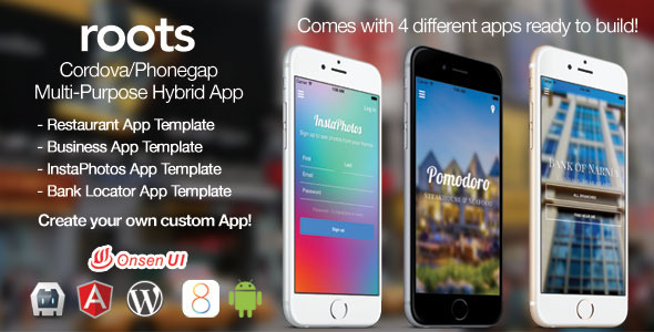 CodeCanyon Roots PhoneGap Cordova Multi-Purpose Hybrid App 9525999