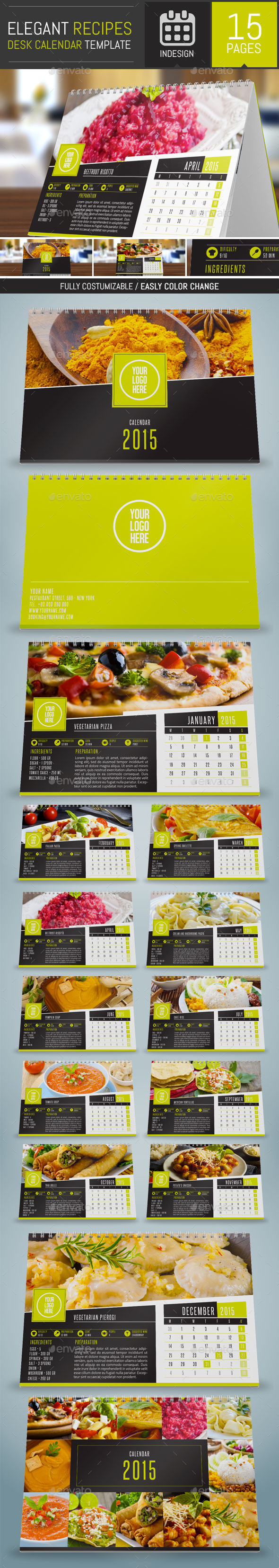 GraphicRiver Elegant Recipes 2015 Desk Calendar Template 9557533