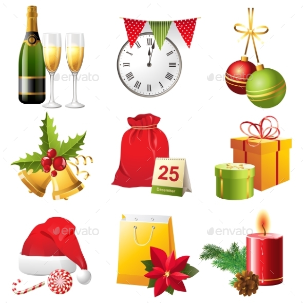 GraphicRiver Christmas Icons Set 9557682