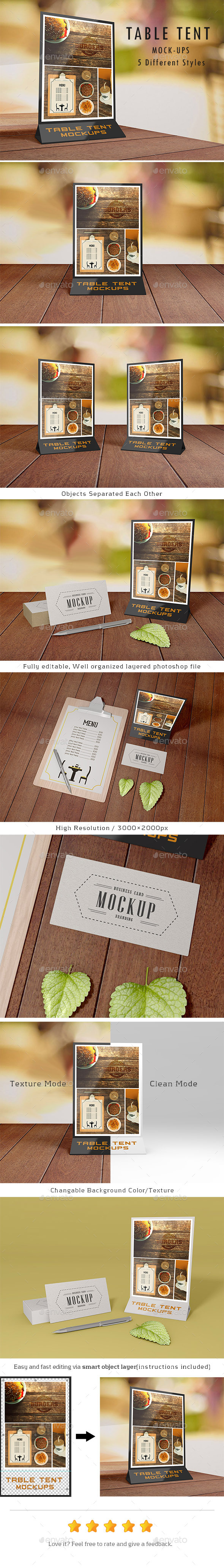 GraphicRiver Table Tent Mock-Ups 9557723