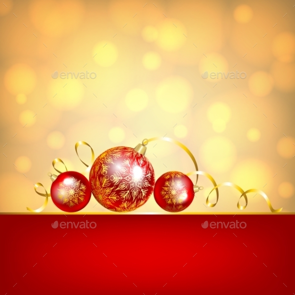 GraphicRiver Red Baubles on Golden Background 9557970
